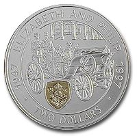 Her Majesty the Queen's Golden Wedding Anniversary (Silver with 18K Gold in-lay)