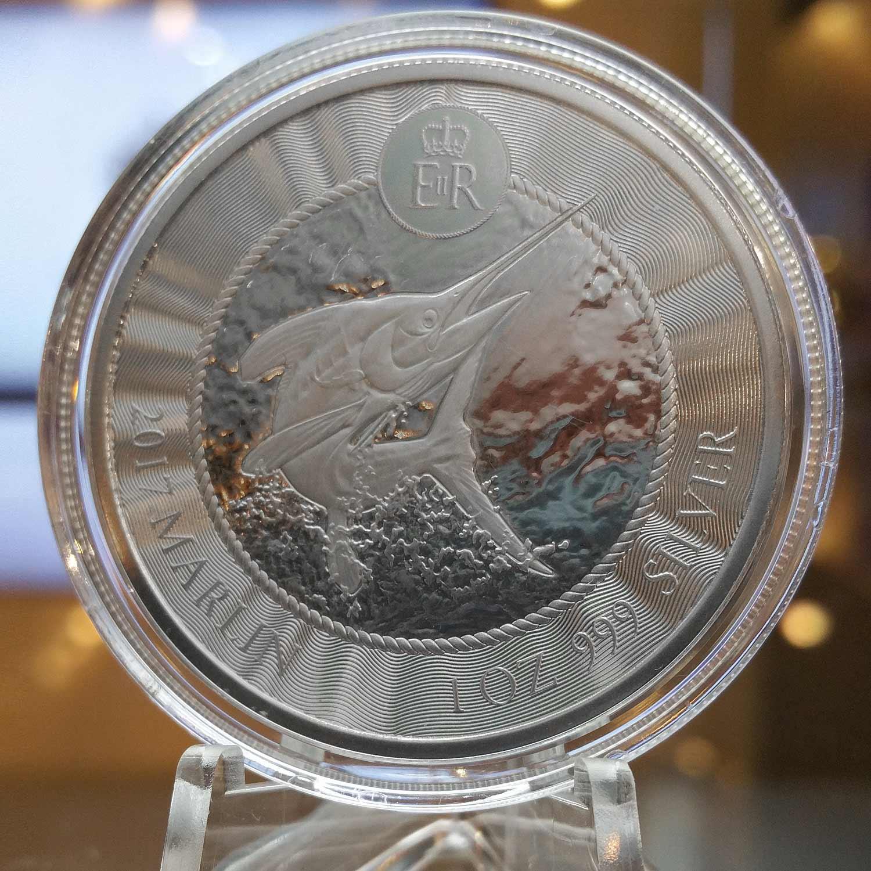 Blue Marlin .999 Fine Silver Bullion Coin - Back